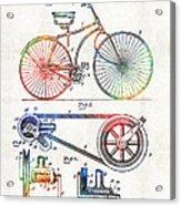 Colorful Bike Art - Vintage Patent - By Sharon Cummings Acrylic Print