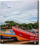 Colorful Boats And Lighthouse Acrylic Print