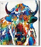 Colorful Buffalo Art - Sacred - By Sharon Cummings Acrylic Print