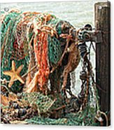 Colorful Catch - Starfish In Fishing Nets Acrylic Print