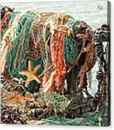 Colorful Catch - Starfish In Fishing Nets Square Acrylic Print