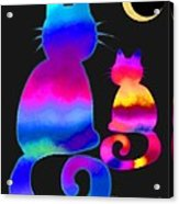 Colorful Cats And The Moon Acrylic Print