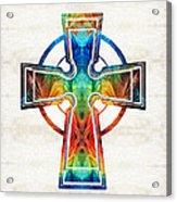Colorful Celtic Cross By Sharon Cummings Acrylic Print