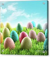 Colorful Easter Eggs In A Field Of Grass Acrylic Print by Sandra Cunningham