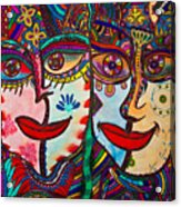 Colorful Faces Gazing - Ink Abstract Faces Acrylic Print