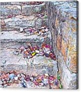 Colorful Fall Leaves Autumn Stone Steps Old Mentone Inn Alabama Acrylic Print