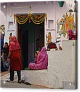 Colorful Family Gathering Ancestral Home Udaipur Rajasthan India Acrylic Print
