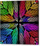 Colorful Feather Fern - 4 X 4 - Abstract - Fractal Art - Square Acrylic Print