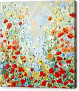 Colorful Field Of Poppies Acrylic Print