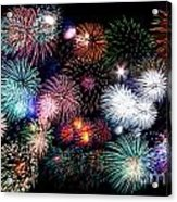 Colorful Fireworks Of Various Colors In Night Sky Acrylic Print