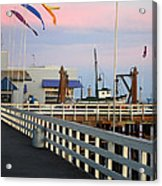 Colorful Flags And Wharf Acrylic Print by Debra Thompson