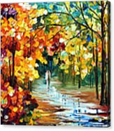 Colorful Forest - Palette Knife Oil Painting On Canvas By Leonid Afremov Acrylic Print