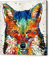 Colorful Fox Art - Foxi - By Sharon Cummings Acrylic Print