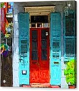 Colorful French Quarter Door  Acrylic Print