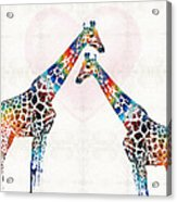 Colorful Giraffe Art - I've Got Your Back - By Sharon Cummings Acrylic Print