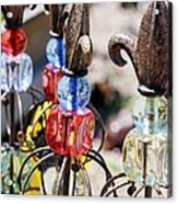 Colorful Glass And Metal Garden Ornaments Acrylic Print