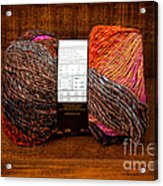 Colorful Knitting Yarn In A Wooden Box Acrylic Print