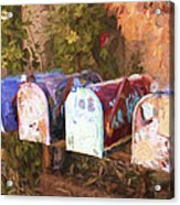 Colorful Mailboxes Santa Fe Painterly Effect Acrylic Print