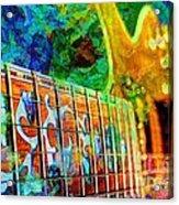 Colorful Music Digital Guitar Art By Steven Langston Acrylic Print