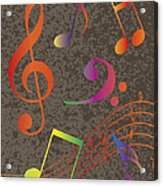 Colorful Musical Notes On Textured Background Illustration Acrylic Print
