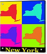Colorful New York State Pop Art Map Acrylic Print