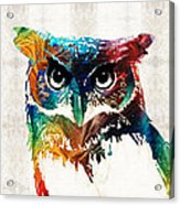 Colorful Owl Art - Wise Guy - By Sharon Cummings Acrylic Print
