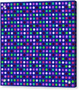 Colorful Polka Dots On Blue Fabric Background Acrylic Print