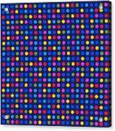 Colorful Polka Dots On Dark Blue Fabric Background Acrylic Print