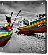 Colorful Retro Ship Boats On The Beach Acrylic Print