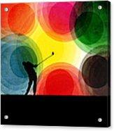 Colorful Retro Silhouette Golfer Acrylic Print