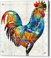 Colorful Rooster Art By Sharon Cummings Acrylic Print