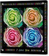 Colorful Rose Spirals With Love Acrylic Print