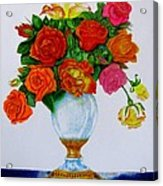 Colorful Roses Acrylic Print by Zina Stromberg