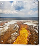 Colorful Runoff From Black Pool Leads To Yellowstone Lake Acrylic Print