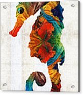 Colorful Seahorse Art By Sharon Cummings Acrylic Print