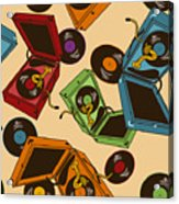 Colorful Seamless Pattern Of Gramophones Acrylic Print