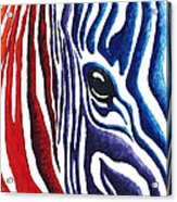 Colorful Stripes Original Zebra Painting By Madart Acrylic Print