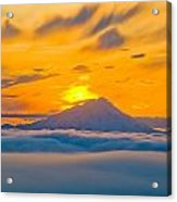 Colorful Sunset Behind Mt. Redoubt And Acrylic Print