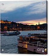 Colorful Sunset In Budapest With A Panoramic View Of The River D Acrylic Print