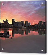 Colorful Sunset Over Portland Downtown Waterfront Acrylic Print