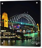 Colorful Sydney Harbour Bridge By Night 3 Acrylic Print
