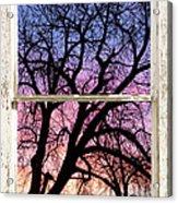 Colorful Tree White Farm House Window Portrait View Acrylic Print