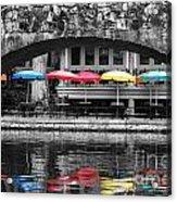 Colorful Umbrellas Reflected In Riverwalk Under Foot Bridge San Antonio Texas Color Splash Digital Acrylic Print