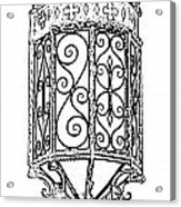 Colorful Vibrant Red Green Gothic Sconce Light Black And White Stamp Digital Art Acrylic Print