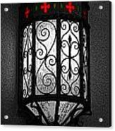 Colorful Vibrant Red Green Gothic Sconce Light Poster Edges Color Splash Digital Art Acrylic Print