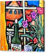 Colosi Wine With Flowers Acrylic Print by Chaline Ouellet