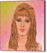 Coloured Pencil Self Portrait Acrylic Print by Joan-Violet Stretch