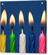 Colourful Candles Lit Acrylic Print