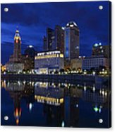 Columbus City At Twlight Acrylic Print by Dick Wood