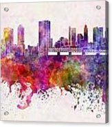 Columbus Skyline In Watercolor Background Acrylic Print